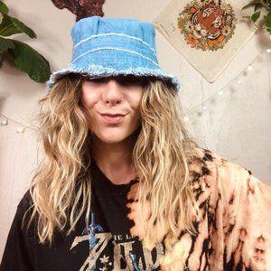 Accessories - Ripped Frayed Edge Light Denim Cotton Bucket Hat